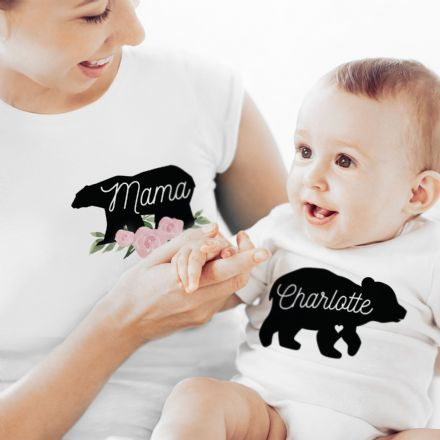 Mother & Baby Mama Bear T-Shirt And Vest Set